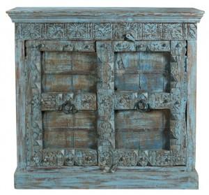 Antique Vintage Doors Cabinet Solid Blue Wood Indian Brocante