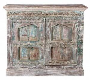 Antique Vintage Doors Dresser In Recycled Wood Belgium Brocante