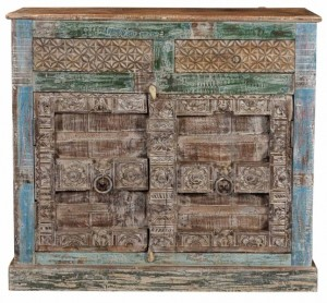Antique Vintage Doors Cabinet With Drawers Solid Natural Wood Indian Brocante
