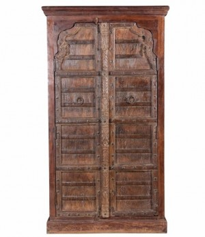 Antique Vintage Doors Sideboard Solid Honey Wood India Brocante