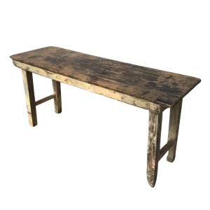 Rustic Teak Solid Wood Folding Trestle Table 150cm
