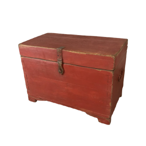 Indian Antique Hand Painted Indian Solid Wood Red Chest Box