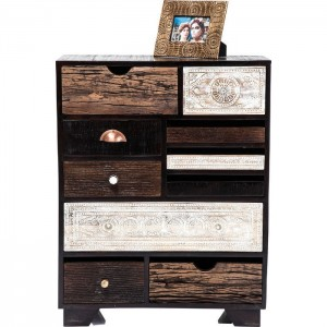 Vivid Noir Contemporary Mango Wood Tallboy Chest of drawers 90cm