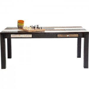 Vivid Noir Contemporary Mango Wood Dining Table 1.8m 6-8 seater