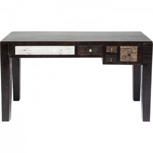 Vivid Noir Contemporary Mango Wood Console Hall Table Study Desk