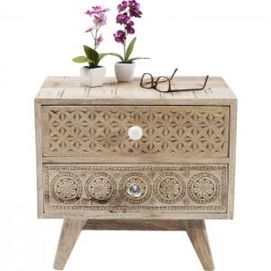 Vivid Sahara Contemporary Mango Wood 2 drawer bedside lamp side table