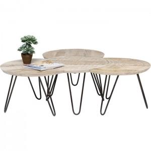 Vivid Sahara Contemporary Mango Metal legs Round Coffee Table set of 4