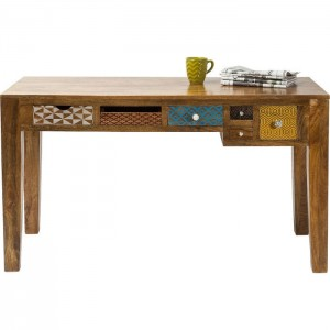 Vivid Screen Contemporary Mango Wood Console Hall Table Study Desk