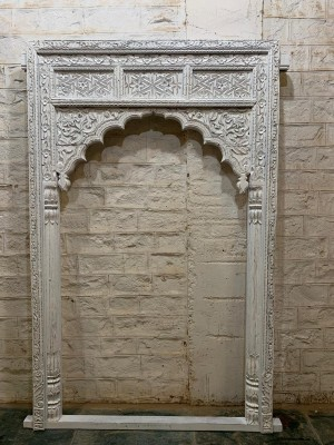 Indian Hand Carved Mughal Arch Mirror Frame White