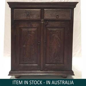 Mandala Hand Carved Indian Solid Wood Small Sideboard With Drawers
