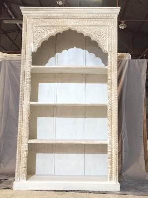 Solid Wood Mughal Indian Hand carved Bookshelf storage White