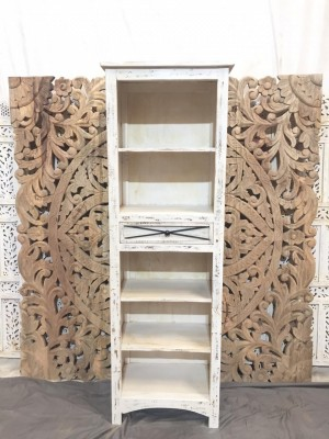 Indian Solid Wood Bookshelf Book Case White