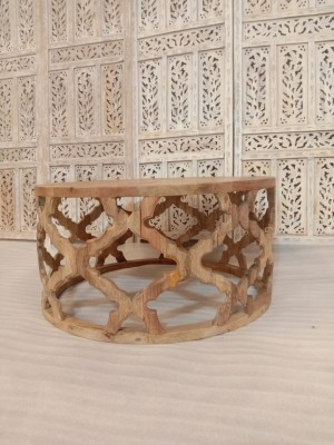 Bristol Indian hand carved Natural round coffee table