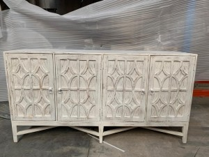 Solid Wood Hand Carved Large Sideboard White 180 cm