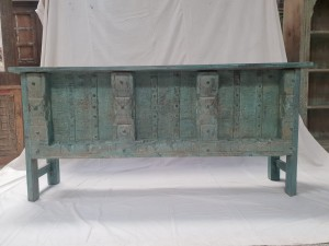 Indian Antique Tribal Hand Carved Art Wooden Console Old Door Table Blue Wash 184x40x79cm