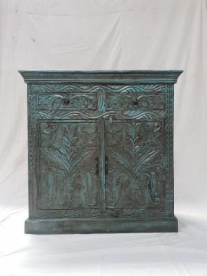 Antique Indian Hand Carved Solid Wood Small Buffet Cabinet Sideboard Blue