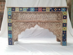 Indian Antique Tribal Hand Carved Art Wooden Console Table Side Table 120x38x76cm