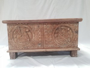 Indian Antique Tribal Hand Carved Art Solid Wooden Storage Blanket Box White Wash Top Light Blue   76x40x40cm