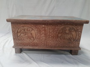 Indian Antique Tribal Hand Carved Art Solid Wooden Storage Blanket Box White Wash with Blue   76x40x40cm