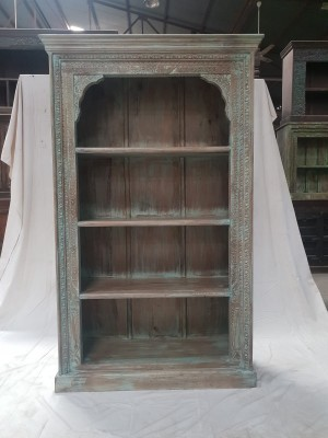 Indian Mughal Hand Carved Solid Wooden Beautiful Bookcase Bluewash 108x42x178cm