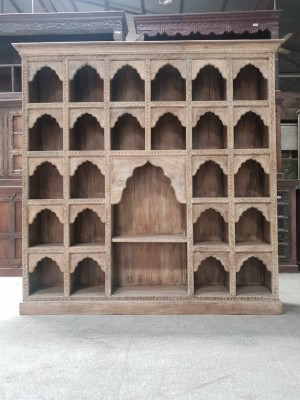 Indian Mughal Hand Carved Solid Wooden Beautiful Bookcase 200x38x197cm