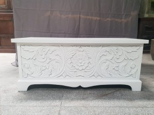 Indian Antique Tribal Hand Carved Art Solid Wooden Storage Blanket Box Solid White   120x35x36cm