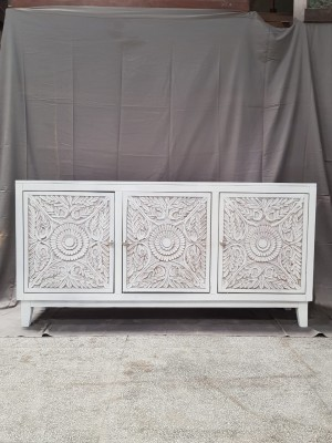 Indian Hand Carved Solid Wooden Beautiful Buffet Cabinet Sideboard 163x41x81cm