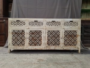 Indian Jali Hand Carved Solid Wooden Beautiful Buffet Cabinet Sideboard 183x41x87cm