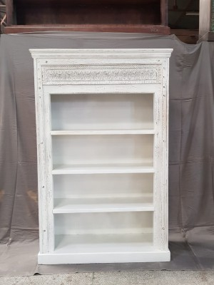 Indian Mughal Hand Carved Solid Wooden Beautiful Bookcase 108x40x168cm