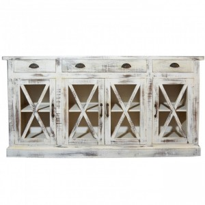 French Style X design Glass Door Sideboard
