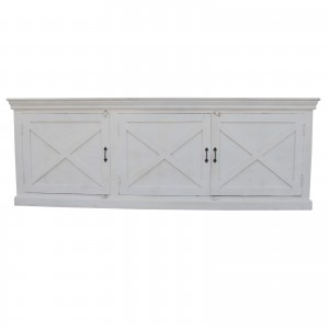 French Style X design 3 Door Wooden Sideboard