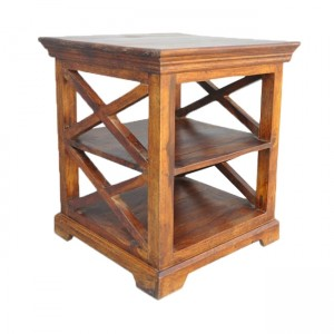 French Style X Design Solid wood Corner Lamp Table