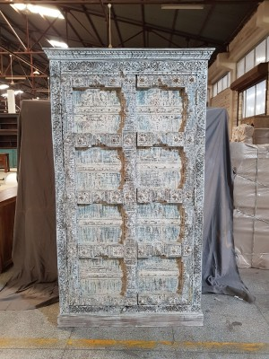 Indian Hand Carved Solid Wooden Beautiful Buffet Cabinet Sideboard 120x50x210cm