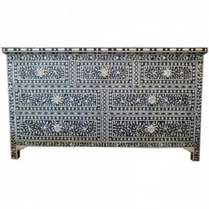 Maaya Bone Inlay Chest of Drawer sideboard Black and White L