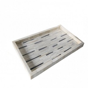 Maaya Bone Inlay Serving Tray - Grey  49x39x5cm