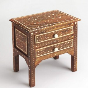 Maaya Bone Inlay Bedside Cabinet Table Brown Floral