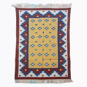 Kilim Wool Handwoven Cotton Dhurrie Durry Rug Jute Floor Covering Pattern 16