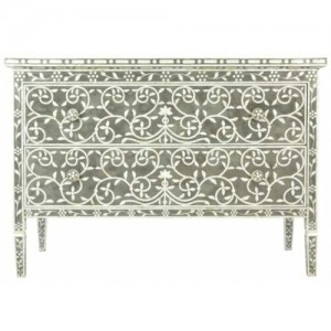 Mother of Pearl Chest sideboard Charcoal Floral
