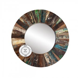 Aspen Reclaimed Indian Wood Round Mirror With Frame Brown