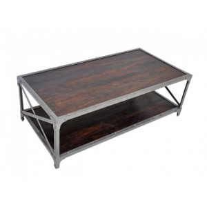 Angle Industrial French Coffee Table Chocolate 135x70cm