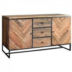 Angle Industrial Parquetry Large Sideboard Buffet 160cm