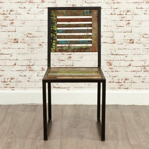 Aspen Reclaimed Wood Industrial Dining Chair Seat with back