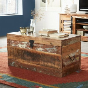 Aspen Colonial Reclaimed Wood Trunk Coffee Table Chest Box