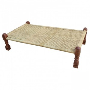 Indian Solid Wood Charpai Khat Manjhi Woven Charpoy Daybed Brown Jute