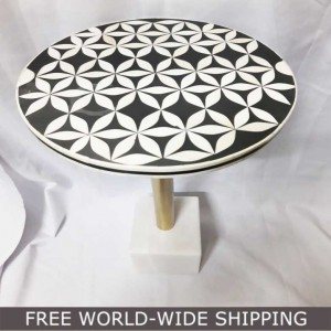 Real Bone Inlay Designer round Table Top with Stand BLACK