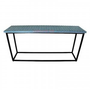 Maaya Bone inlay Blue White Floral Console Hall table