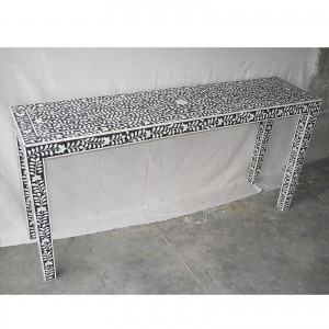 Maaya Bone inlay Black White Floral Console Hall table