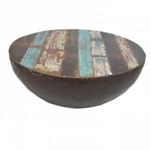 Reclaimed Old Timber Drum Round Coffee Table B