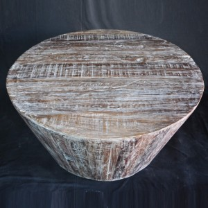 Reclaimed Round Coffee Table White
