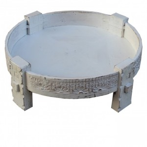 Tribal Grinder Round Coffee Table White